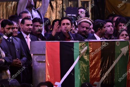 Bilawal Bhutto Zardari (C) Chairman of Pakistan People Party (PPP), Son of former prime minister Benazir Bhutto delivers a speech to supporters on his late mother Benazir Bhutto 12th year death anniversary of her assassination, in Rawalpindi, Pakistan, 27 December 2019. Bhutto was killed in an attack during an election campaign in Rawalpindi on 27 December 2007.