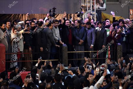Bilawal Bhutto Zardari (C) Chairman of Pakistan People Party (PPP), son of former prime minister Benazir Bhutto waves to supporters on his late mother Benazir Bhutto 12th year death anniversary of her assassination, in Rawalpindi, Pakistan, 27 December 2019. Bhutto was killed in an attack during an election campaign in Rawalpindi on 27 December 2007.