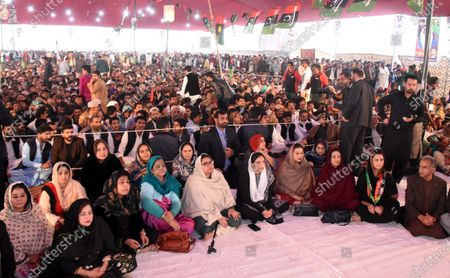 Asifa Bhutto Zardari (front C), daughter of former prime minister Benazir Bhutto and supporters listen to the speech of Bilawal Bhutto Zardari Chairman of Pakistan People Party (PPP) in Rawalpindi, during the Benazir Bhutto's 12th death anniversary of her assassination in Gari Khuda Buksh, Pakistan, 27 December 2019. Bhutto was killed in an attack during an election campaign in Rawalpindi on 27 December 2007.