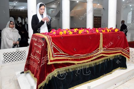 Asifa Bhutto Zardari daughter of former prime minister Benazir Bhutto, pray at the grave of her late mother Benazir Bhutto, during the 12th anniversary of her assassination in Gari Khuda Buksh, Pakistan, 27 December 2019. Bhutto was killed in an attack during an election campaign in Rawalpindi on 27 December 2007.
