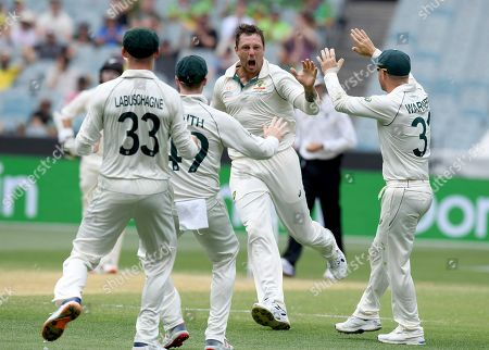 Australia's James Pattinson, center, celebrates with teammates after capturing the wicket of New Zealand's BJ Watling during a cricket test match in Melbourne, Australia