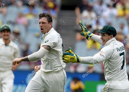 Australia's James Pattinson, left celebrates with team mate Tim Paine, right, after capturing the wicket of New Zealand's BJ Watling during a cricket test match in Melbourne, Australia
