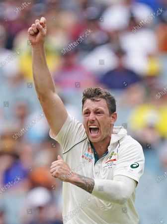 James Pattinson of Australia celebrates dismissing BJ Watling of New Zealand on day three of the Boxing Day Test match between Australia and New Zealand at the Melbourne Cricket Ground (MCG) in Melbourne, Australia, 28 December 2019.