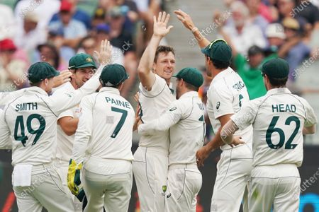 James Pattinson (C) of Australia celebrates a wicket on day three of the Boxing Day Test match between Australia and New Zealand at the Melbourne Cricket Ground (MCG) in Melbourne, Australia, 28 December 2019.
