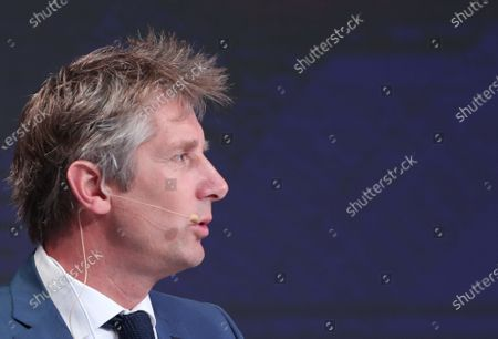 Dutch former professional soccer goalkeeper Edwin Van Der Sar speaks during the first day of the Dubai International Sports Conference in Dubai, United Arab Emirates, 28 December 2019. This year is the 14th Dubai International Sports Conference.