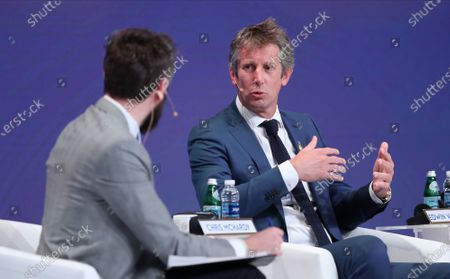 Dutch former professional soccer goalkeeper Edwin Van Der Sar (R) speaks during the first day of the Dubai International Sports Conference in Dubai, United Arab Emirates, 28 December 2019. This year is the 14th Dubai International Sports Conference.