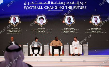 Stock Picture of (L-R) French former soccer player Mikael Silvestre, Portuguese Joao Felix, Belgian Romelu Lukaku and Bosnian Miralem Pjanic attend the first day of the Dubai International Sports Conference in Dubai, United Arab Emirates, 28 December 2019. This year is the 14th Dubai International Sports Conference.