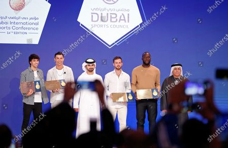 Stock Picture of (L-R) Portuguese internationals Joao Felix of Atletico Madrid, Cristiano Ronaldo of Juventus, Sheikh Mansour bin Mohammed bin Rashid Al Maktoum, President of the Dubai International Marine Club, Bosnian international Miralem Pjanic of Juventus, Belgium international Romelu Lukaku of Inter Milan, and Mattar Al Tayer Chairman of Dubai's Roads and Transport Authority (RTA) during the 14th edition of Dubai International Sports Conference in Dubai, United Arab Emirates, 28 December 2019. The conference was launched in 2006 to bring football stakeholders together.