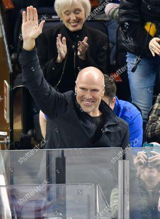 Mark Messier attends Carolina Hurricanes vs New York Rangers game at Madison Square Garden
