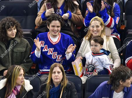 Miles Robbins, Major Martino and Eva Amurri attend Carolina Hurricanes vs New York Rangers game at Madison Square Garden