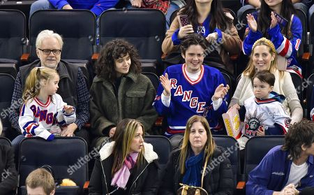 Stock Picture of Tim Robbins, Marlowe Martino, Gratiela Brancusi, Miles Robbins, Major Martino and Eva Amurri attend Carolina Hurricanes vs New York Rangers game at Madison Square Garden