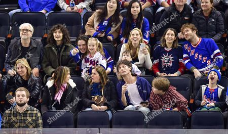 Tim Robbins, Gratiela Brancusi, Miles Robbins, Marlowe Martino, Major Martino, Eva Amurri, guest and Jack Henry Robbins attend Carolina Hurricanes vs New York Rangers game at Madison Square Garden