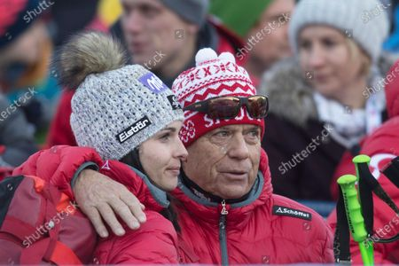 President of the Austrian Ski Federation Peter Schroecksnadel (R) hugs Austrian ski racer Anna Veith during the Women's Giant Slalom race at the FIS Alpine Skiing World Cup event in Lienz, Austria, 28 Dezember 2019.