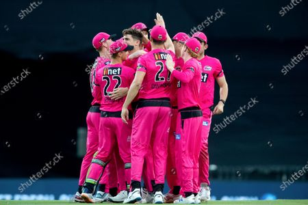 Sydney Sixers player Sean Abbott celebrates a wicket with team mates