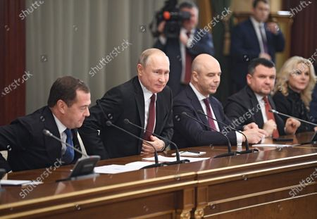 From left: Russian Prime Minister Dmitry Medvedev, Russian President Vladimir Putin, First Minister of Finance, First Deputy Prime Minister of Russia Anton Siluanov and Deputy Prime Ministers of Russia Maxim Akimov and Tatyana Golikova during the meeting.