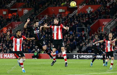 James Tomkins of Crystal Palace scores the opening goal.