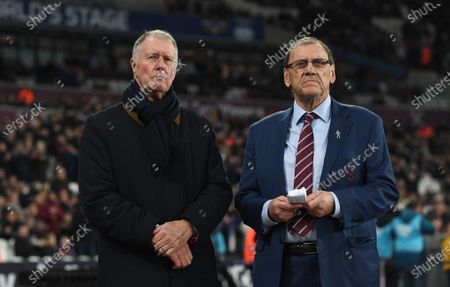 Former England footballer Sir Geoff Hurst (L) and former West Ham United striker Brian Dear (R) ahead of the English Premier league soccer match between West Ham United and Leicester City held at the London stadium in London, Britain, 28 December 2019.
