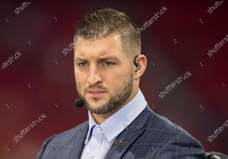 SEC Network personality and analyst Tim Tebow prior to NCAA Football game action between the Oklahoma Sooners and the LSU Tigers at Mercedes-Benz Stadium in Atlanta, Georgia. LSU defeated Oklahoma 63-28