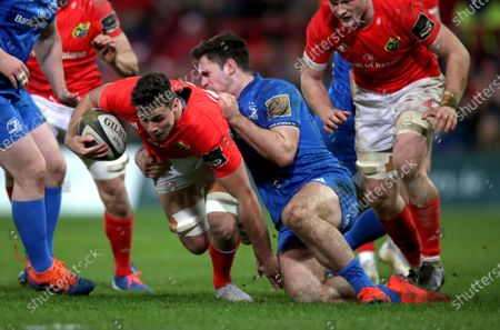 Munster vs Leinster. Munster's Jack O'Sullivan is tackled by Conor O'Brien of Leinster