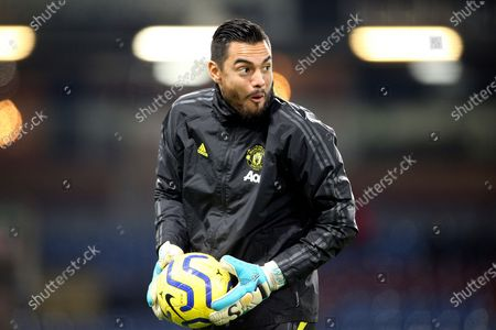 Manchester United goalkeeper Sergio Romero (22) warming up during the Premier League match between Burnley and Manchester United at Turf Moor, Burnley