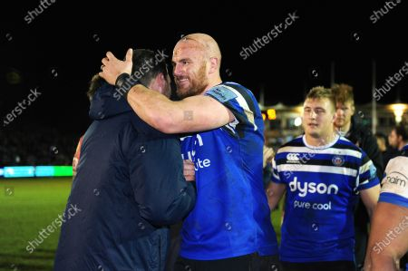 Stock Image of James Phillips of Sale Sharks with Matt Garvey of Bath Rugby after the match