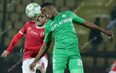 Al-Ahly  player Ayman Ashraf (L) in action against FC Platinum  player Kelvin Mangiza (R) during the CAF Champions League soccer match between AL-Ahly and FC Platinum at Al-Salam Stadium in Cairo, Egypt, 28 December 2019.