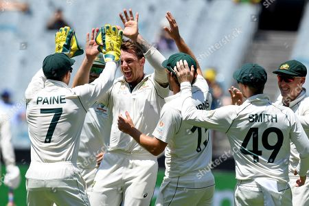 Australia's James Pattinson, second from left, celebrates with teammates after capturing the wicket of New Zealand's Ross Taylor during their cricket test match in Melbourne, Australia