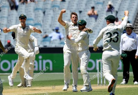 Australia's James Pattinson, center, celebrates with teammates after capturing the wicket of New Zealand's Kane Williamson during their cricket test match in Melbourne, Australia