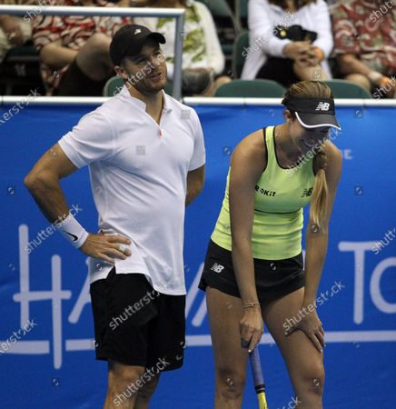 Christian Harrison and Danielle Collins have a laugh in a mixed doubles exhibition match at the Hawaii Open invitational tournament between teams Danielle Collins/Sam Querrey and Yanina Wickmayer/Christian Harrison at the Stan Sheriff Center in Honolulu, HI - Michael Sullivan/CSM