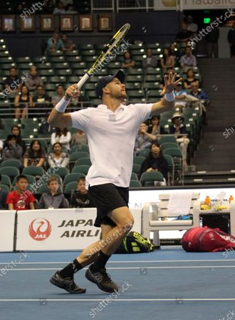 Christian Harrison in a mixed doubles exhibition match at the Hawaii Open invitational tournament between teams Danielle Collins/Sam Querrey and Yanina Wickmayer/Christian Harrison at the Stan Sheriff Center in Honolulu, HI - Michael Sullivan/CSM