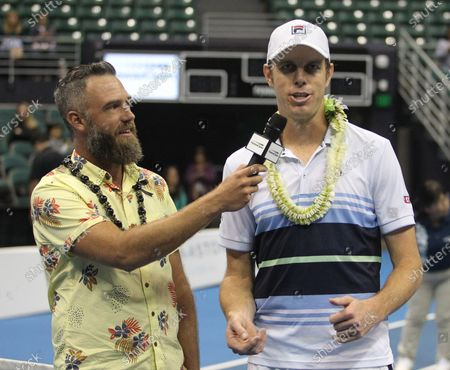 Sam Querrey gets interviewed after a mixed doubles exhibition match at the Hawaii Open invitational tournament between teams Danielle Collins/Sam Querrey and Yanina Wickmayer/Christian Harrison at the Stan Sheriff Center in Honolulu, HI - Michael Sullivan/CSM