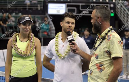 Christian Harrison and Danielle Collins get intervoewed after a mixed doubles exhibition match at the Hawaii Open invitational tournament between teams Danielle Collins/Sam Querrey and Yanina Wickmayer/Christian Harrison at the Stan Sheriff Center in Honolulu, HI - Michael Sullivan/CSM