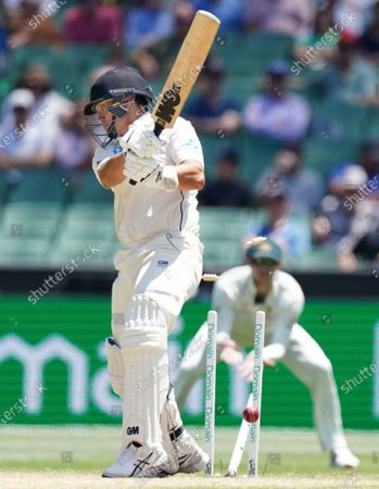 Ross Taylor of New Zealand is out bowled by James Pattinson of Australia on day four of the Boxing Day Test match between Australia and New Zealand at the Melbourne Cricket Ground (MCG) in Melbourne, Australia, 29 December 2019.