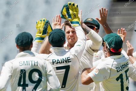 James Pattinson (C) of Australia celebrates a wicket on day four of the Boxing Day Test match between Australia and New Zealand at the Melbourne Cricket Ground (MCG) in Melbourne, Australia, 29 December 2019.