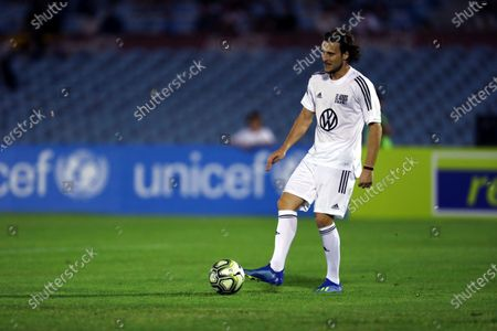 Uruguayan footballer Diego Forlan gets the ball during his farewell match, played at the Centenario Stadium in Montevideo, Uruguay, 28 December 2019.