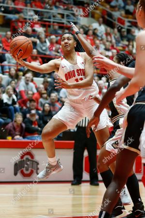 Ohio State forward Aixa Wone Aranaz, left, goes up for a shot against Purdue guard Dominique Oden during an NCAA basketball game on in Columbus, Ohio. Purdue won 66-50