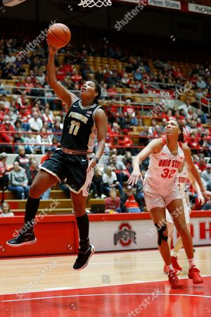 Purdue guard Dominique Oden, left, goes up for a shot in front of Ohio State forward Aaliyah Patty during an NCAA basketball game on in Columbus, Ohio. Purdue won 66-50