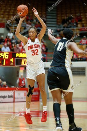 Ohio State forward Aaliyah Patty, left, goes up for a shot in front of Purdue guard Dominique Oden during an NCAA basketball game on in Columbus, Ohio. Purdue won 66-50