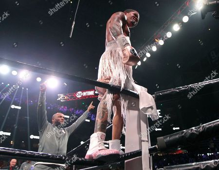 Gervonta Davis stands on the ropes after defeating Yuriorkis Gamboa, not seen, for the WBA secondary lightweight boxing title early, in Atlanta