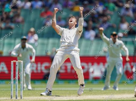 James Pattinson of Australia celebrates after dismissing Kane Williamson of New Zealand day 4 of the Boxing Day Test match between Australia and New Zealand at the Melbourne Cricket Ground (MCG) in Melbourne, Victoria, Australia, 29 December 2019.