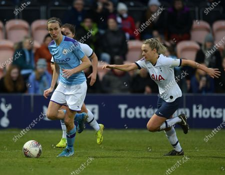 Stock Photo of Jill Scott of Manchester City Women looks up to make a cross in the box