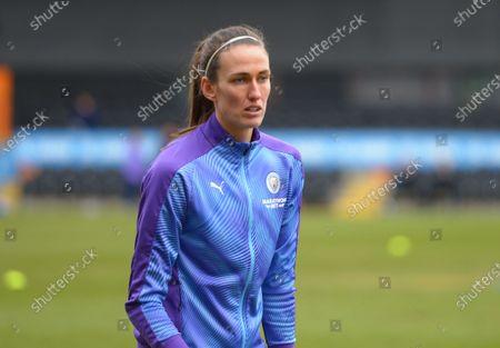 Jill Scott of Manchester City Women warming up before kickoff