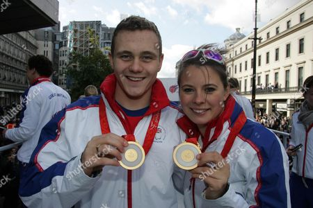 Stock Picture of Sam Hynd & Liz Johnson On The Olympic Parade. Picture By Glenn Copus