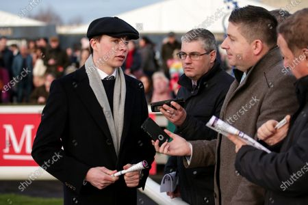 Stock Picture of The O`Driscoll O`Neil Insurance Brokers Flat Race. Trainer Joseph O'Brien speaks to the media after the race