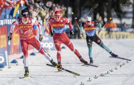 Johannes Hoesflot Klaebo (L) from Norway, Alexander Bolshunov (C) from Russia and Renaud Jay (R) from France in action during the semifinal of the Men's Sprint Free cross country skiing race of the FIS Tour de Ski in Lenzerheide, Switzerland, 29 December 2019.