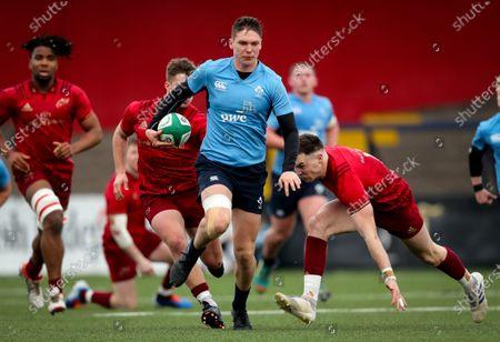 Ireland U20 vs Munster Development. Ireland U20's Hayden Hyde is tackled by Sean French of Munster Development