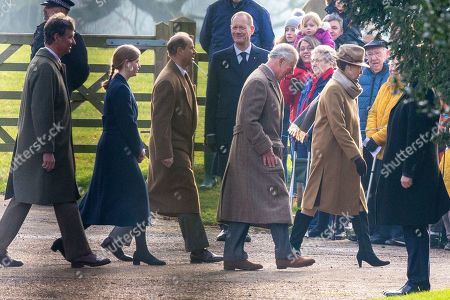 Prince Charles and Princess Anne, Prince Edward and Lady Louise Windsor, Tim Laurence arriving at St Mary Magdalene Church for morning service