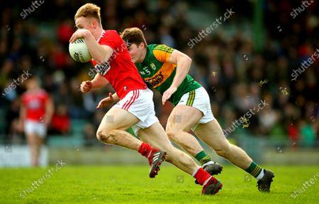 Kerry vs Cork. Kerry's Dan McCarthy and Damien Gore of Cork