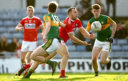 Kerry vs Cork. Kerry's Luka Brosnan and Ciaran Sheehan of Cork