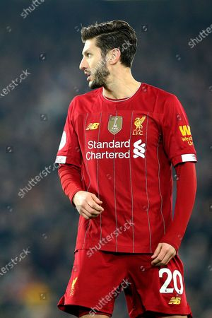 Liverpool midfielder Adam Lallana (20) during the Premier League match between Liverpool and Wolverhampton Wanderers at Anfield, Liverpool
